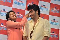 Arjun Kapoor with Parineeti, during a promotional event.