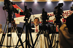 Vijay Mallya, the Chairman of Kingfisher Airlines, talks to the media.